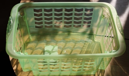 A basket filled with food, with Laundry Basket
