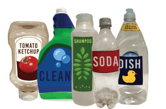 A variety of of condiment bottles and plastic bottles