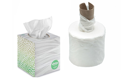 Toilet tissue roll in a tissue box