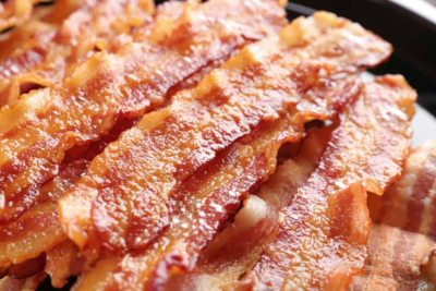 A close up of food, with Bacon