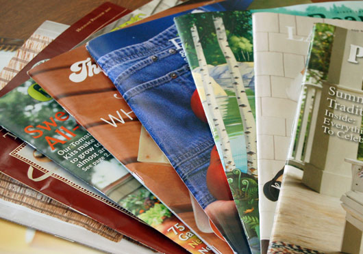stack of catalogs from Pinterest
