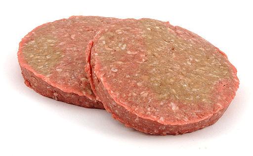 two raw hamburger patties