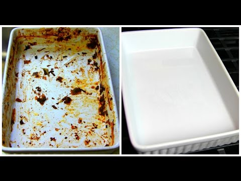 Baked on casserold dish before and after cleaning