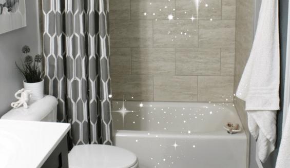 A glass shower door, with Bathroom