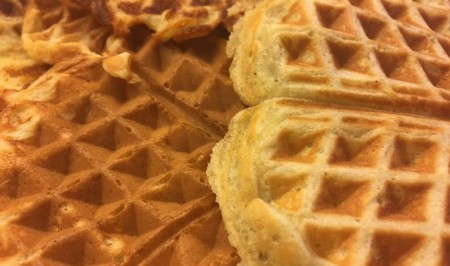 A close up of food, with Waffle