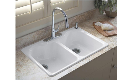 white Kohler drop in double kitchen sink