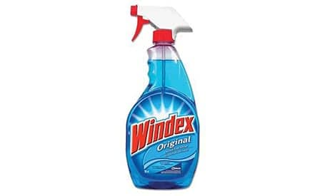 Bottle of Windex window cleaner with a spray topi